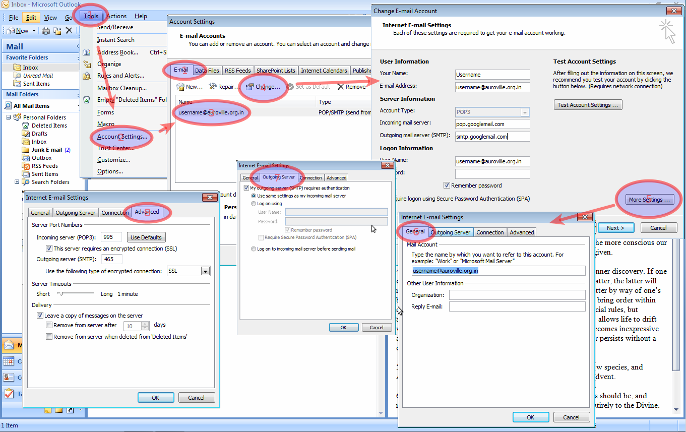 Instructions to change an existing Outlook2007 setup.