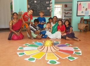 Deepanam 2018 - Light 2 - Light group students with their Matrimandir project.JPG