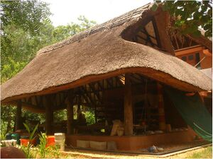 Roofing With Wooden Rafters Thatch And Bamboo Mat