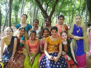 Deepanam 2018 - Faith 3 - Faith group girls costumes for the Savitri performance.jpg